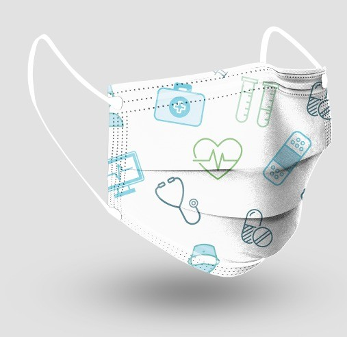 Máscara Descartável Tripla c/ Elástico - Medic - c/20