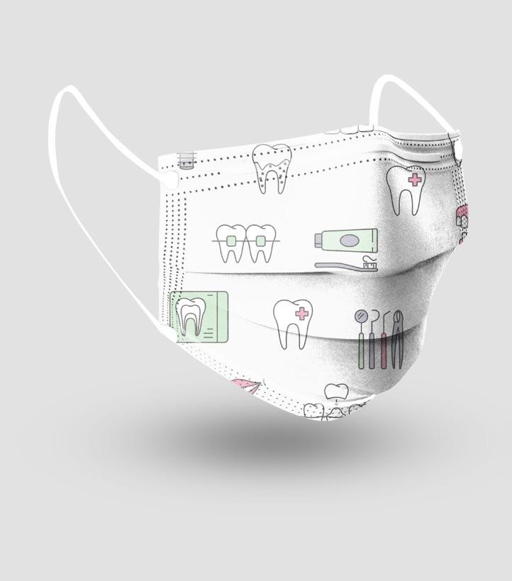 Máscara Descartável Tripla c/ Elástico - Odonto - c/20