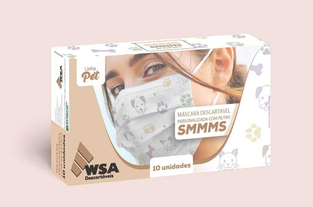 Máscara Descartável Tripla c/ Elástico - Estampada c/10