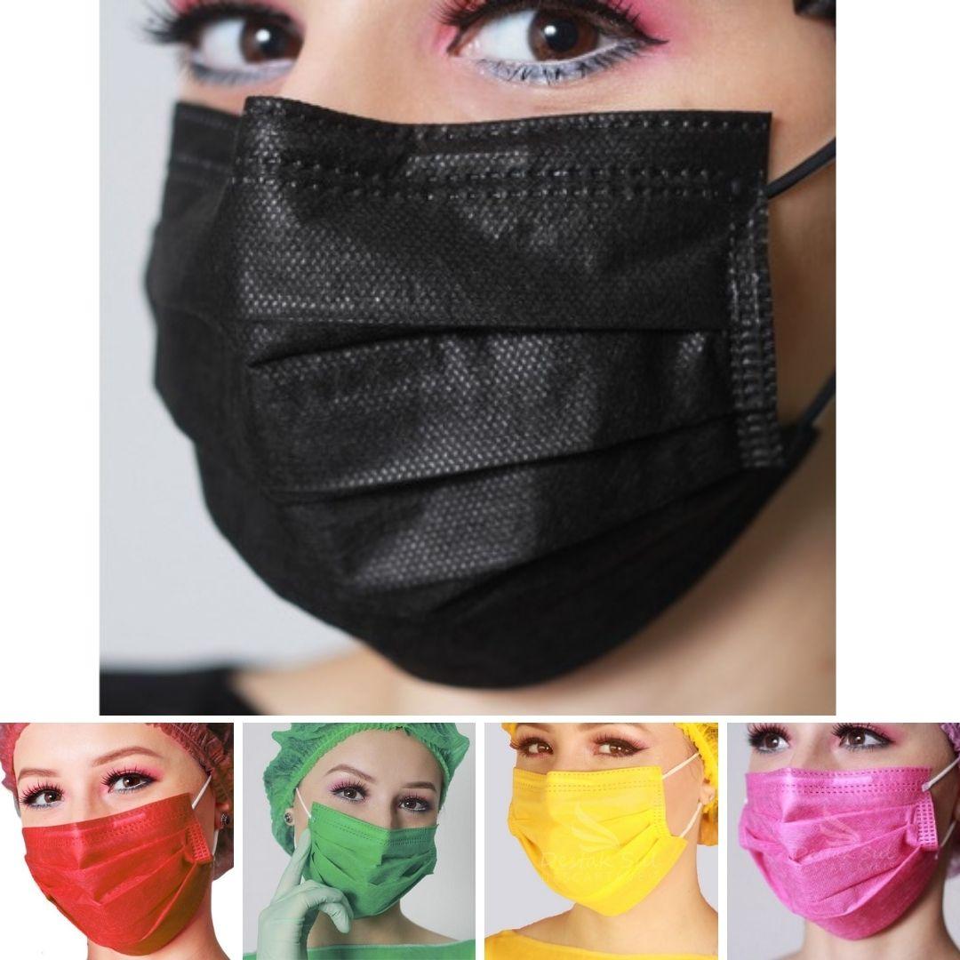 Máscara Descartável Tripla c/ Elástico - Cx. c/50 - Várias Cores - DS