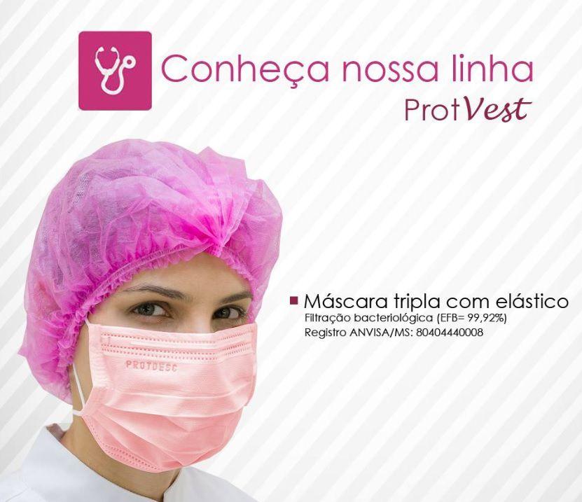 Máscara Descartável Tripla c/ Elástico - Cx. c/50 - Protdesc- Várias Cores