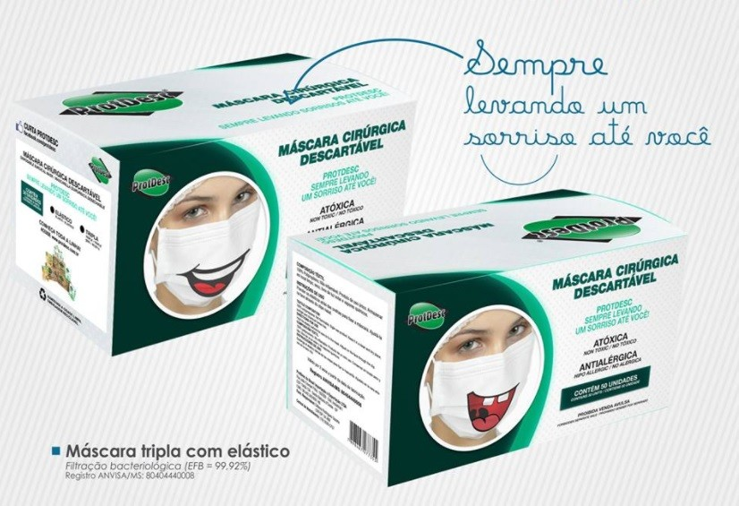 Máscara Descartável Tripla c/ Elástico - Sorriso - c/50