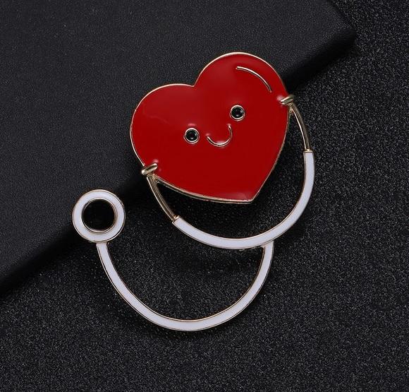 Pin / Broche Coração + Estéto Branco
