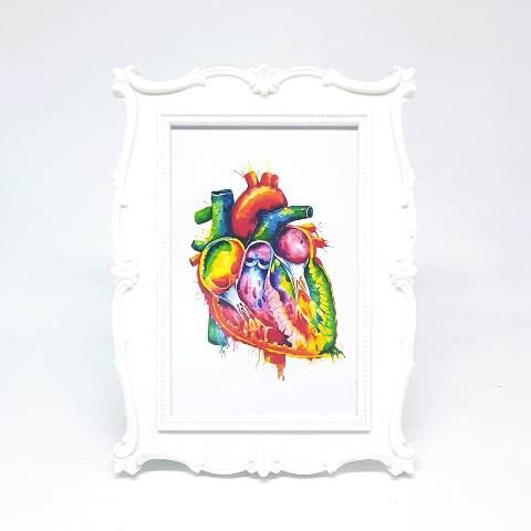 Porta Retrato Branco - Gravura Coração