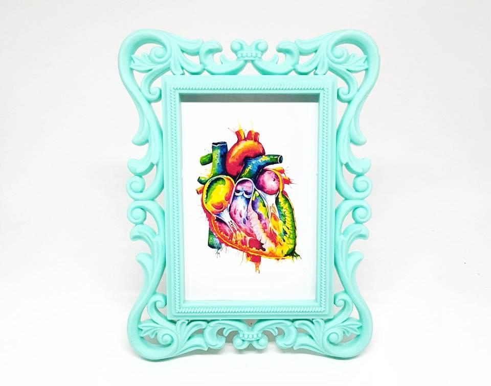 Porta Retrato Verde Água - Gravura Coração