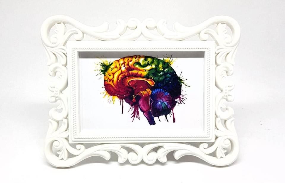 Porta Retrato Branco - Gravura Cérebro