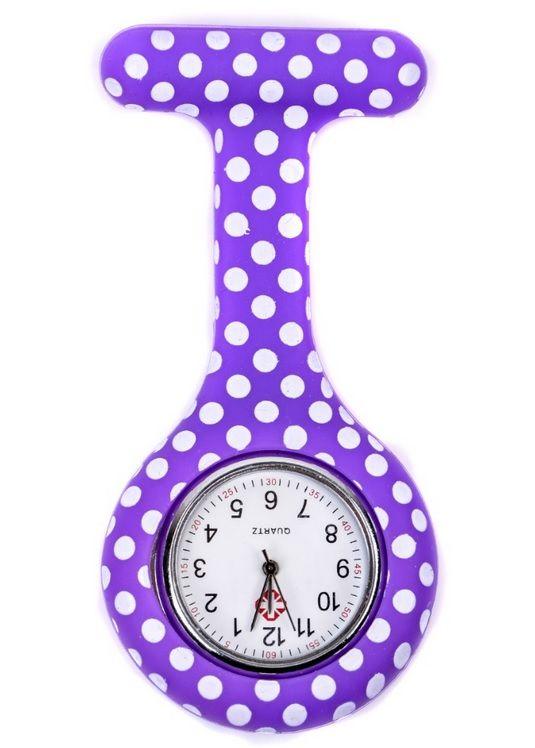 Relógio Estampado - Poá Roxo
