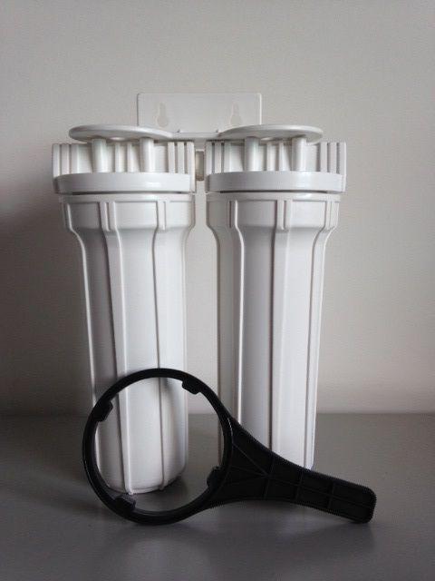 Filtro de água Duplo - Branco - Com Torneira Cromada