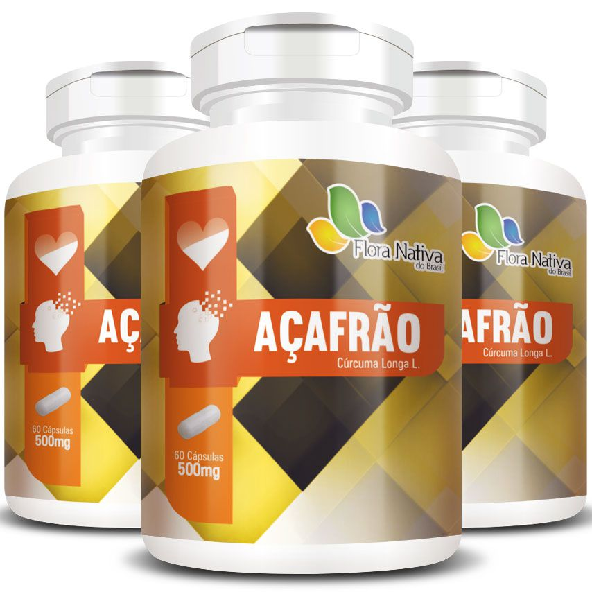 Açafrão Cúrcuma (Curcumina) 500mg Original - 3 Potes (180 cáps)