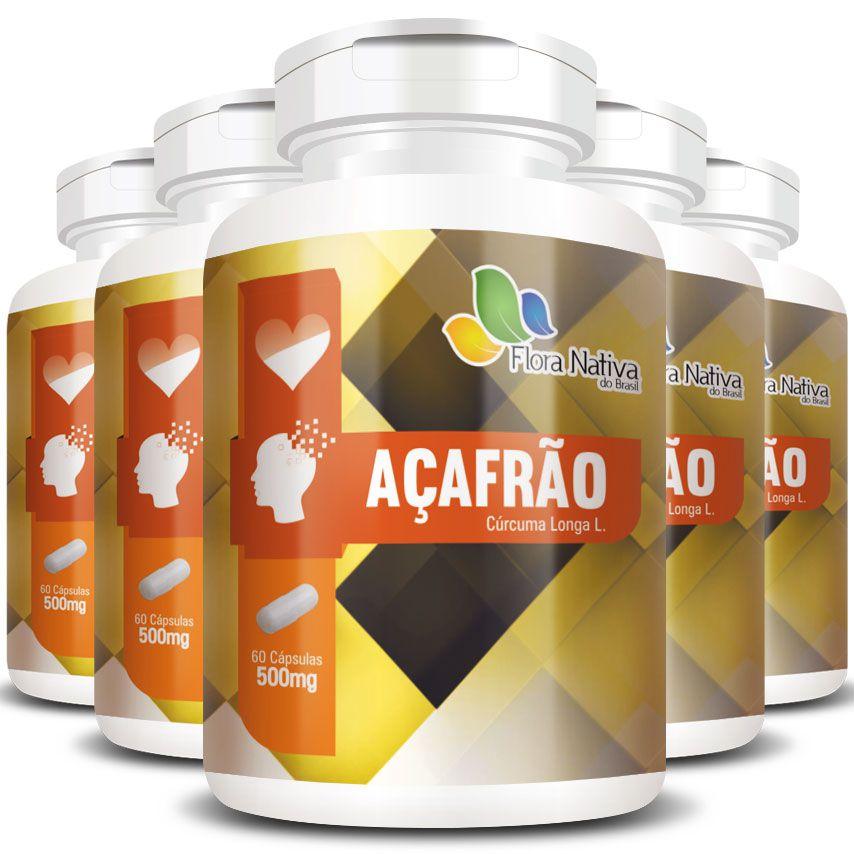 Açafrão Cúrcuma (Curcumina) 500mg Original - 5 Potes (300 cáps)