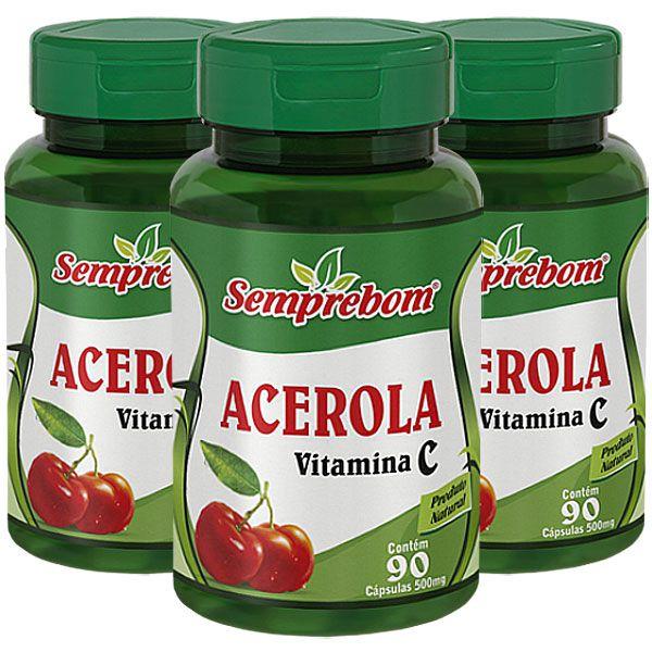 Acerola 500mg (Vitamina C) - Original - 3 Potes (270 cáps)