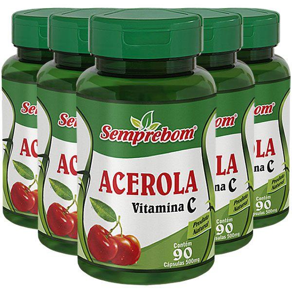 Acerola 500mg (Vitamina C) - Original - 5 Potes (450 cáps)