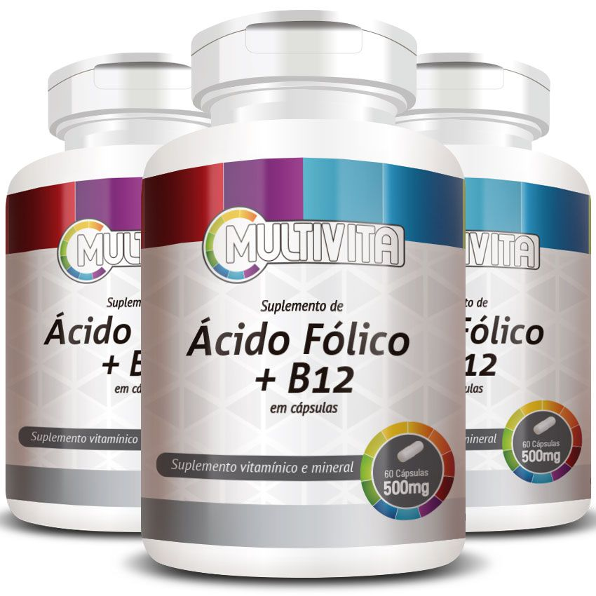 Ácido Fólico B9 + B12 (Cianocobalamina) 500mg - 3 Potes (180 cáps)