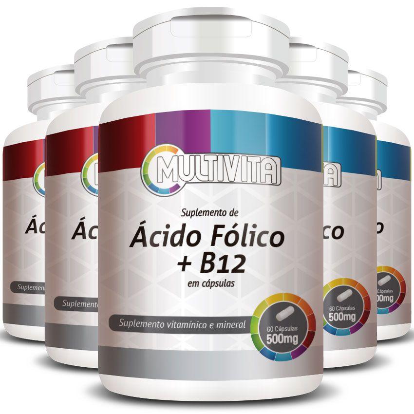 Ácido Fólico B9 + B12 (Cianocobalamina) 500mg - 5 Potes (300 cáps)