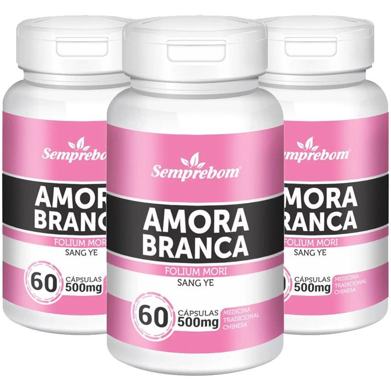 Amora Branca (Folium Mori) 500mg - 100% Pura - 3 Potes (180 cáps)