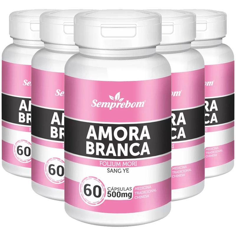Amora Branca (Folium Mori) 500mg - 100% Pura - 5 Potes (300 cáps)