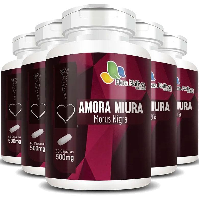 Amora Miúra Morus Nigra - A Legítima 500mg - 5 Potes (300 cáps.)