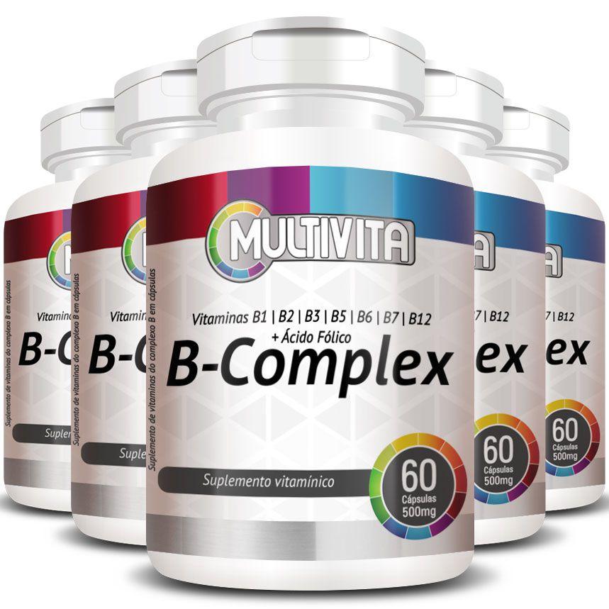 B-Complex (Complexo B) 500mg - 5 Potes (300 cáps.)