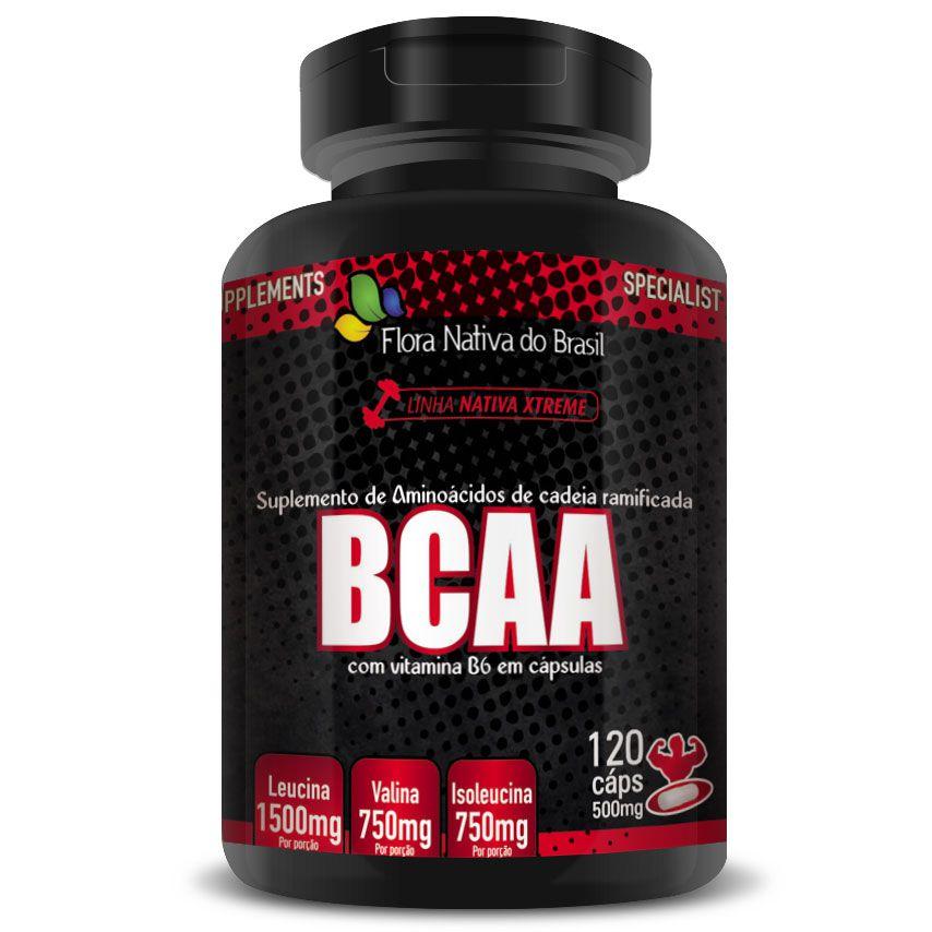 BCAA com Vitamina B6 (3000mg por Porção) 120 cáps. de 500mg
