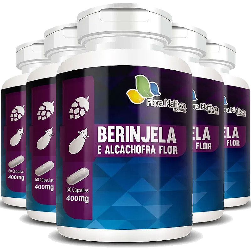 Berinjela e Alcachofra Flor 400mg - 5 Potes (300 cáps.)