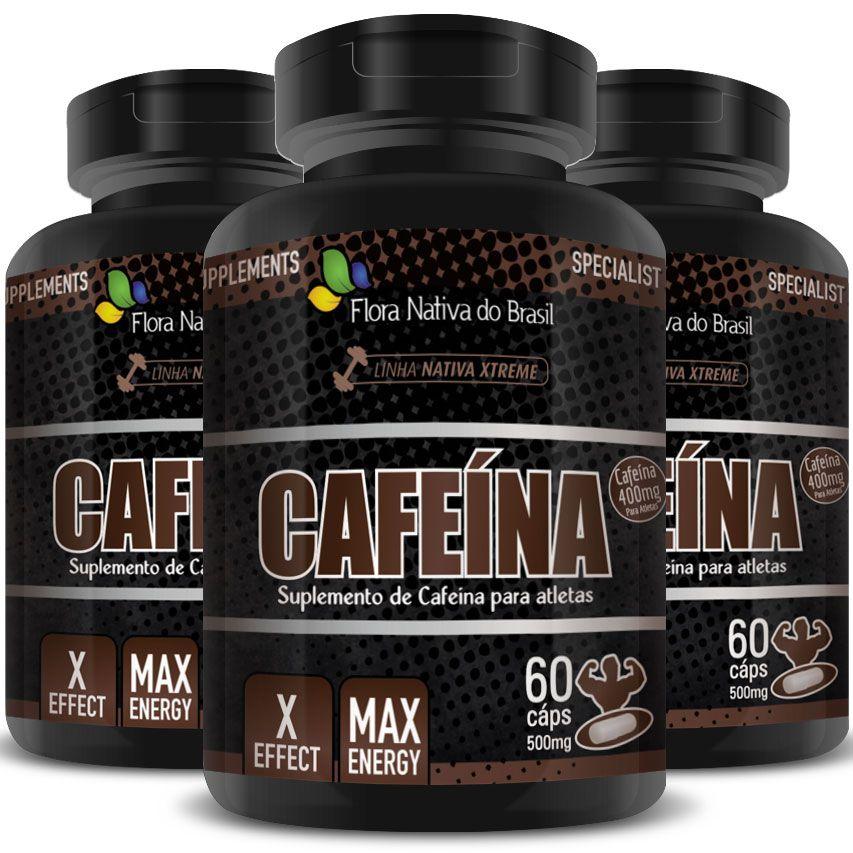 Cafeína Anidra Max Energy 500mg - 3 Potes (180 cáps.)