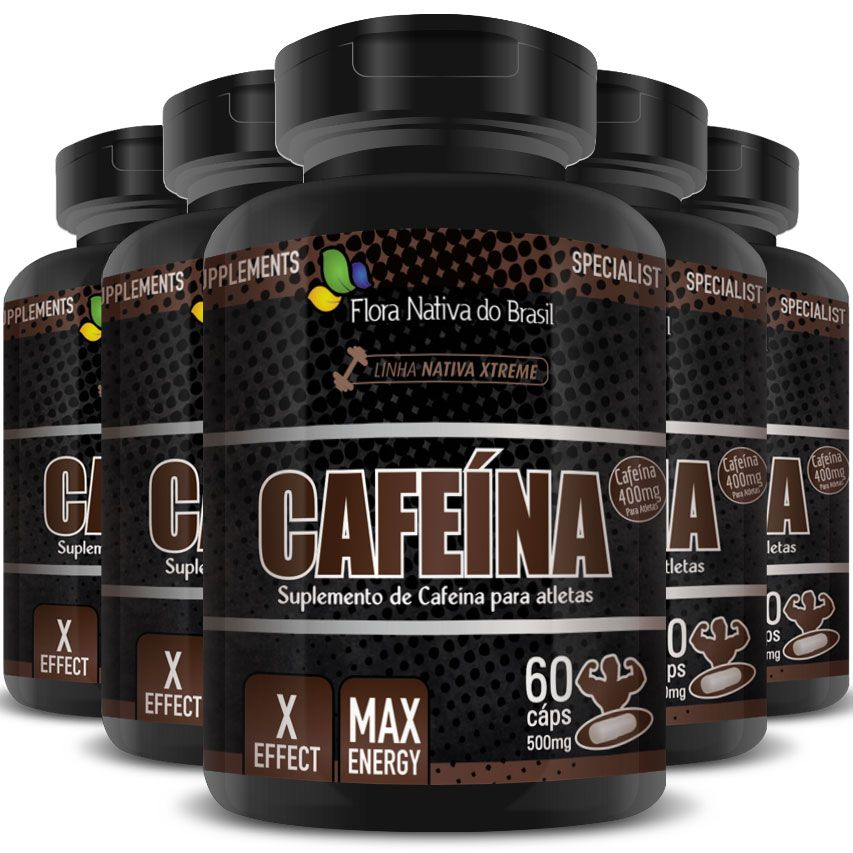 Cafeína Anidra Max Energy 500mg - 5 Potes (300 cáps.)