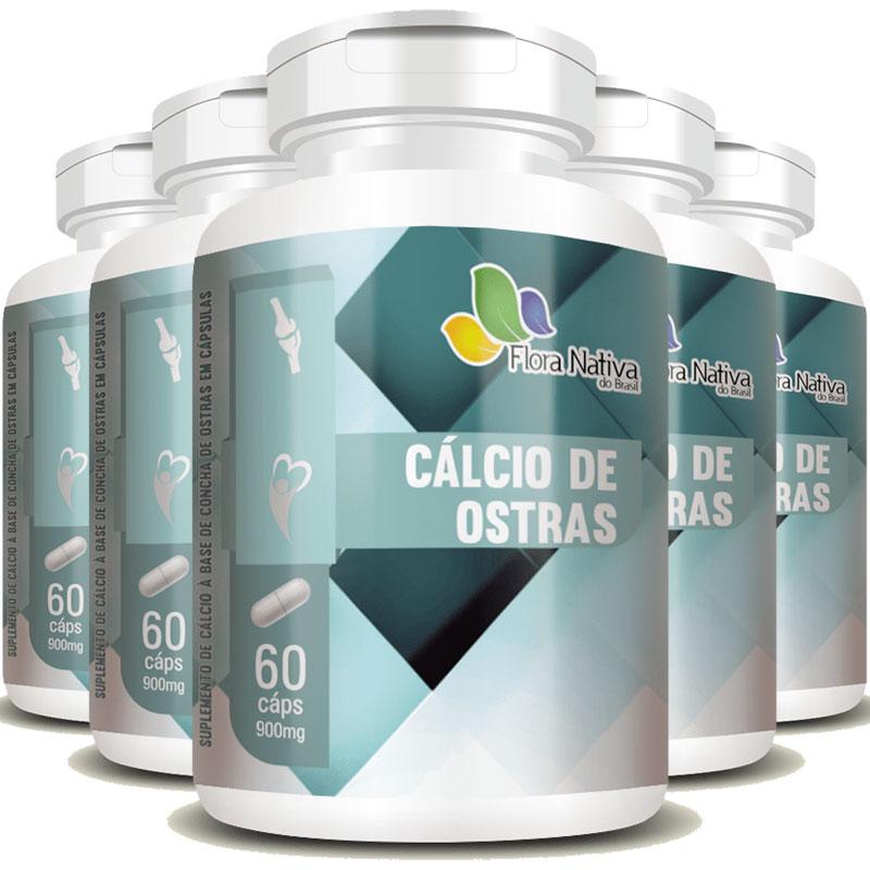 Cálcio de Ostras Ostrea Edulis L 700mg - 5 Potes (300 cáps)