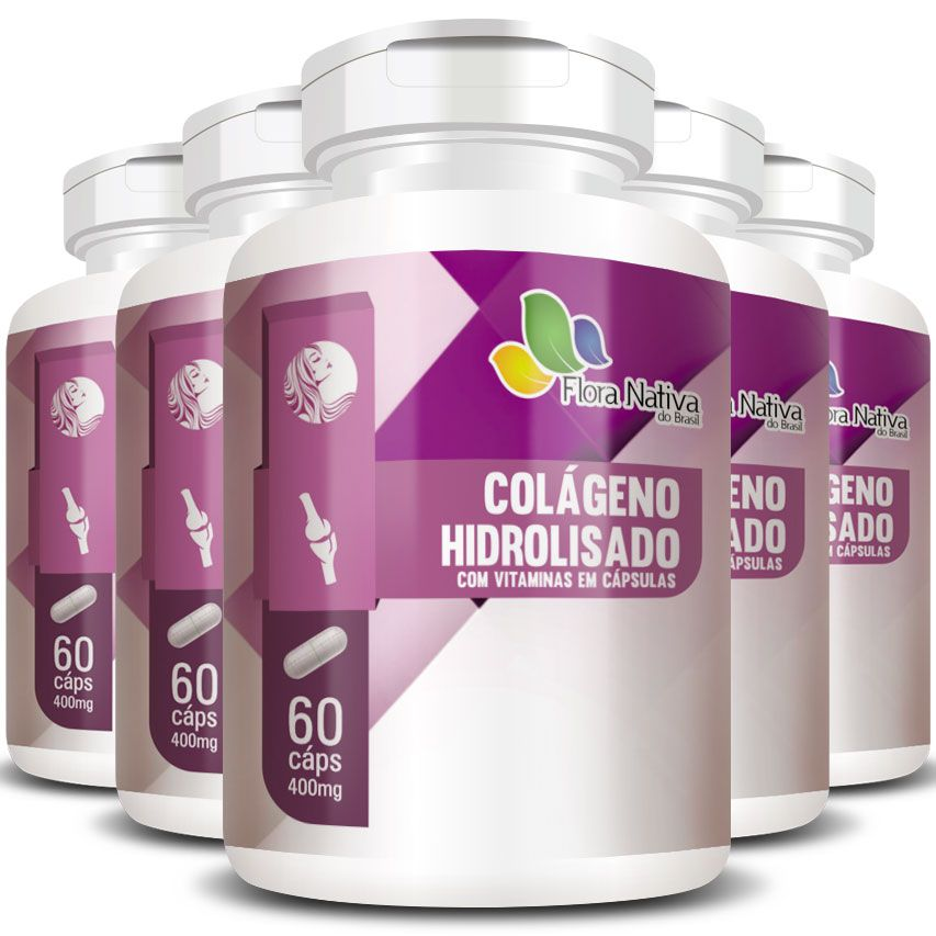 Colágeno Hidrolisado com Vitaminas 400mg - 05 Potes (300 cáps.)