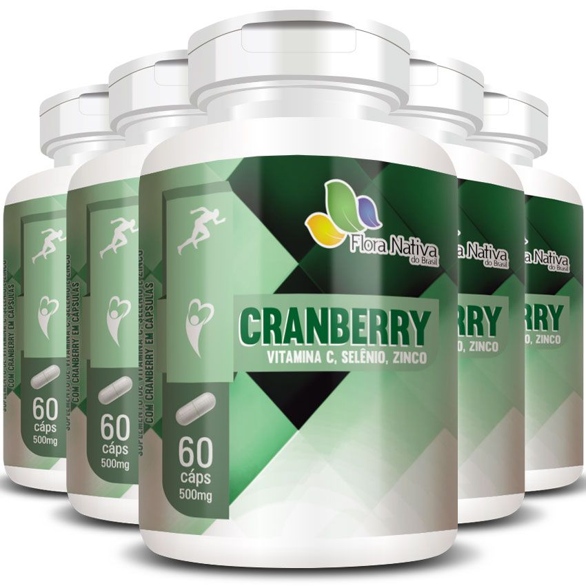 Cranberry + Vitamina C, Selênio e Zinco - 500mg - 5 Potes (300 cáps.)