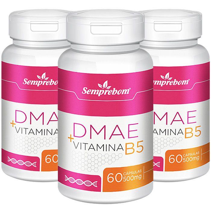 DMAE + Vitamina B5 - 500mg - 3 Potes (180 cáps)