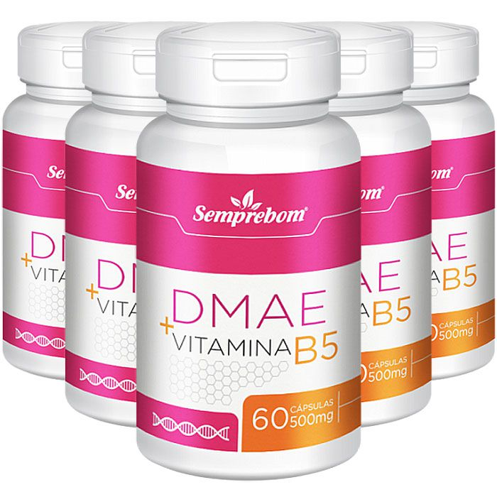 DMAE + Vitamina B5 - 500mg - 5 Potes (300 cáps)