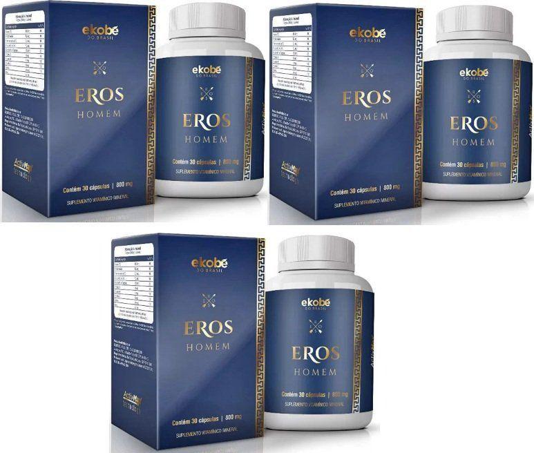 Eros Homem Original 810mg - 3 Potes (90 cáps.)