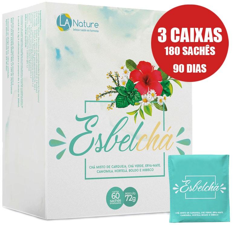 Esbelchá Original Chá 7 Ervas 180 Sachês - 3 Caixas