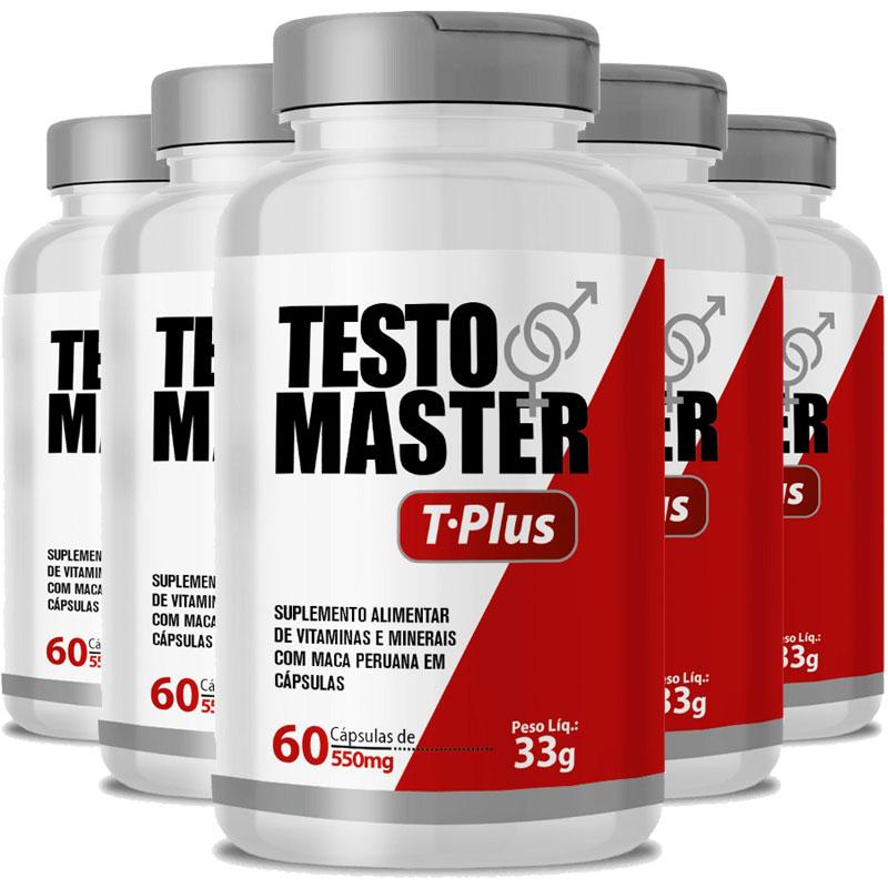Testomaster T-Plus Maca Peruana (Lepidium Meyenii) + Zinco e Vitaminas - 5 Potes (300 cáps.)
