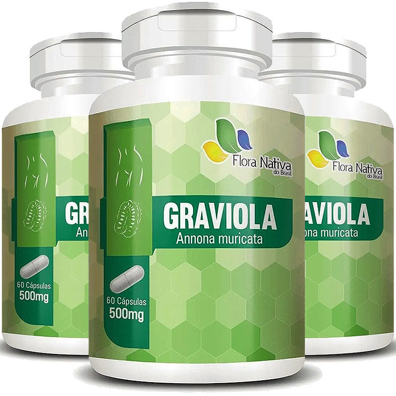 Graviola (Annona Muricata) 500mg - A Legítima - 3 Potes (180 cáps.)