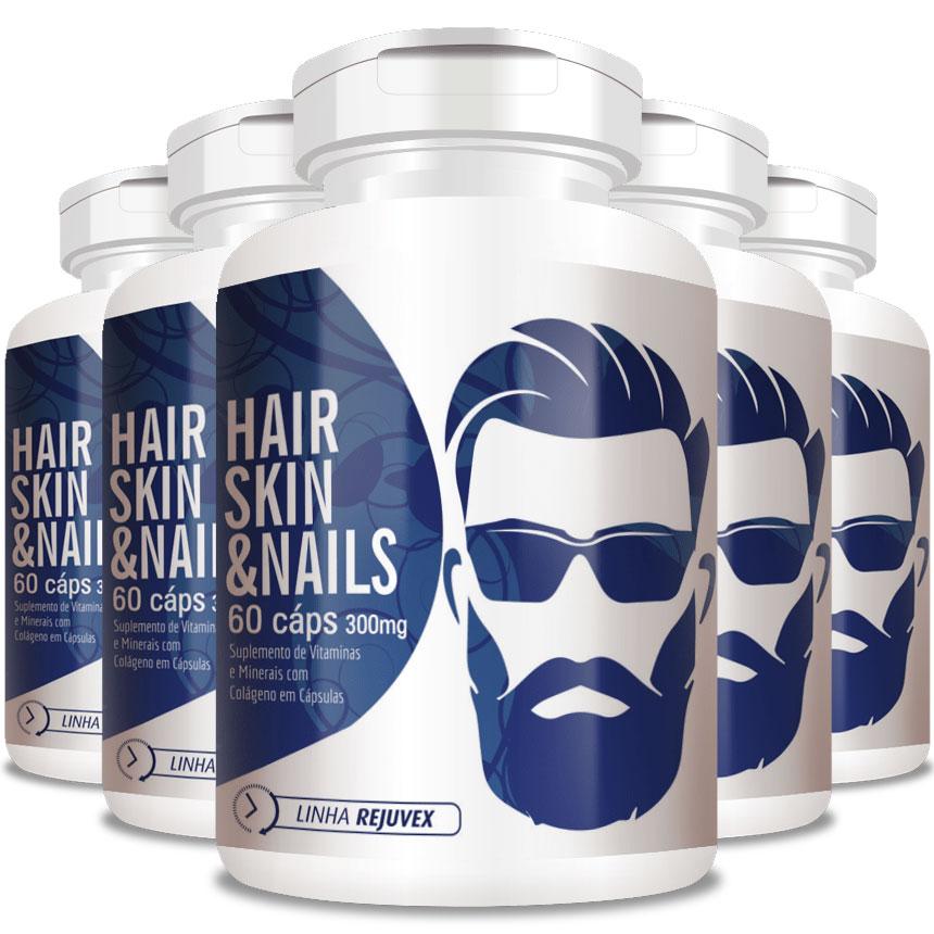 Hair Skin & Nails Homem | Barba e Cabelo - 5 Potes (300 cáps.)