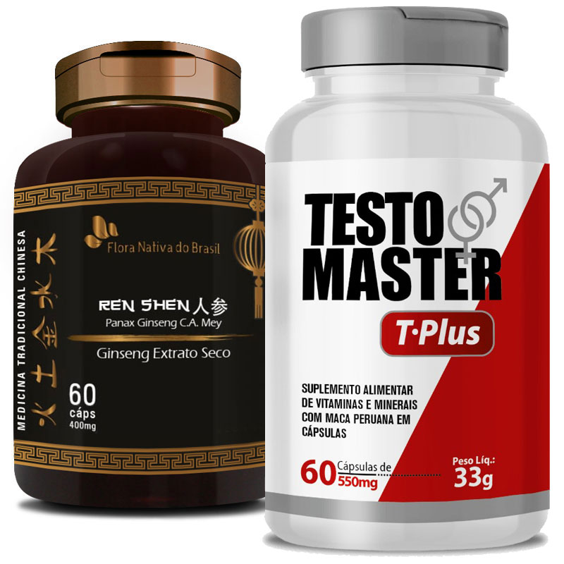 Kit Libido | Ginseng Panax (Ren Shen) 400mg + Testomaster T-Plus (Lepidium Meyenii) 550 mg - 60 (cáps) cada