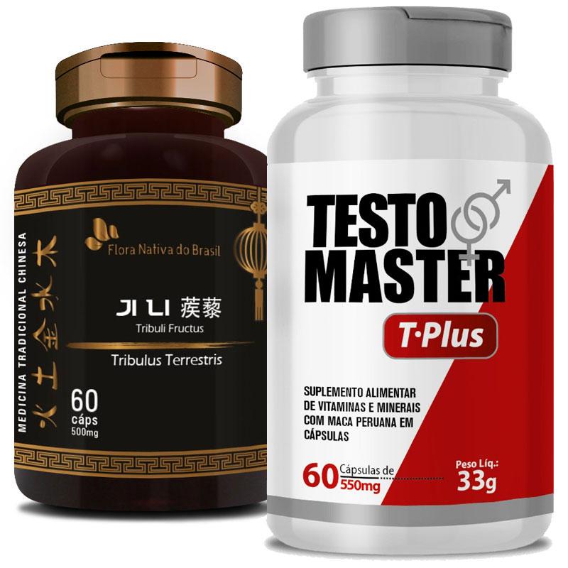 Kit Ereção | Testomaster T-Plus (Lepidium Meyenii) 550mg + Tribullus Terrestris (Ji Li - Tribuli Fuctrus) 500mg