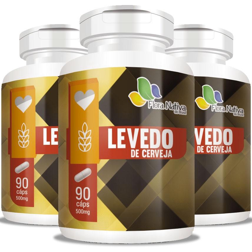 Levedo de Cerveja Saccharomyces Cerevisiae 500mg - 3 Potes (270 cáps.)
