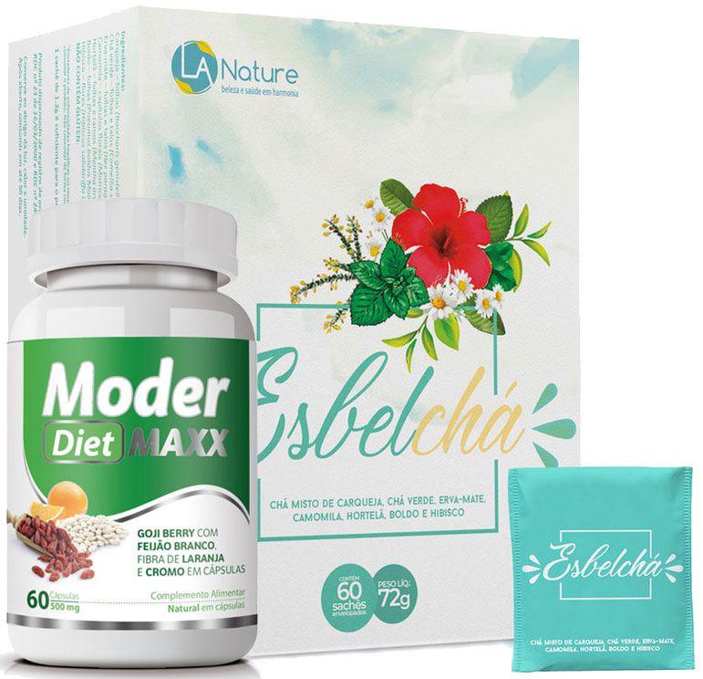 Esbelchá Original Chá 7 Ervas Naturais 60 Sachês + Moder Maxx Diet 500mg