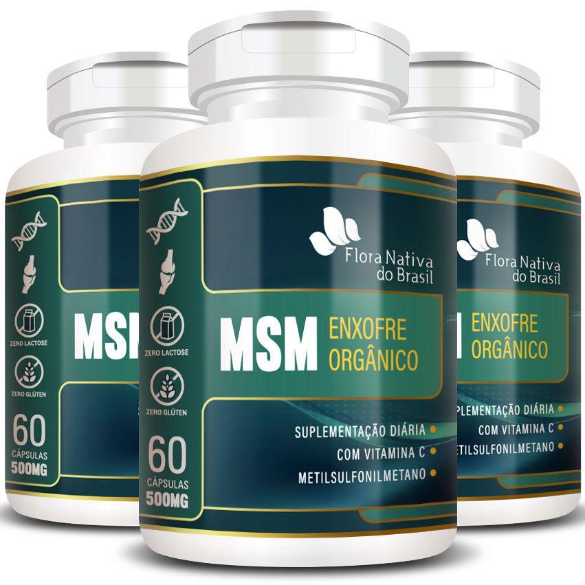 MSM Enxofre Orgânico Metilsulfonilmetano 500mg - 3 Potes (180 cápsulas)