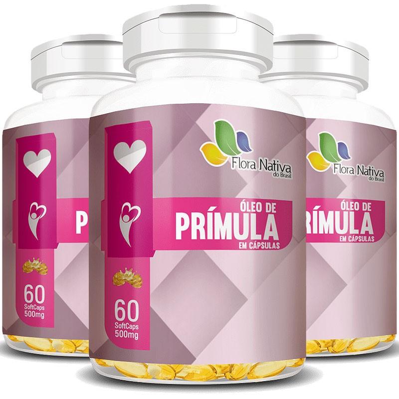 Óleo de Prímula 500mg - 100% Puro - 3 Potes (180 cáps.)
