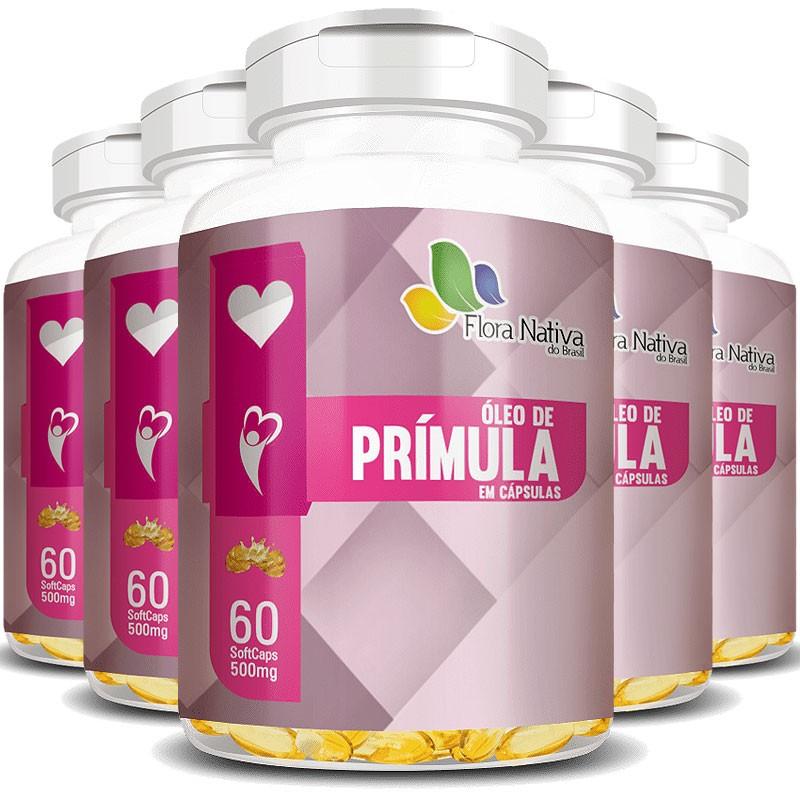 Óleo de Prímula 500mg - 100% Puro - 5 Potes (300 cáps.)