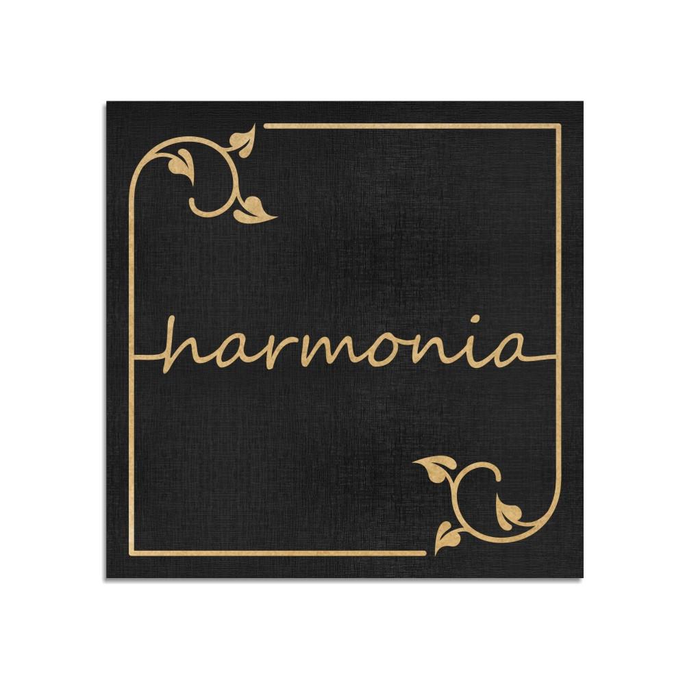 Quadro Decorativo Frase   Harmonia - Sala, Quarto, Lavabo