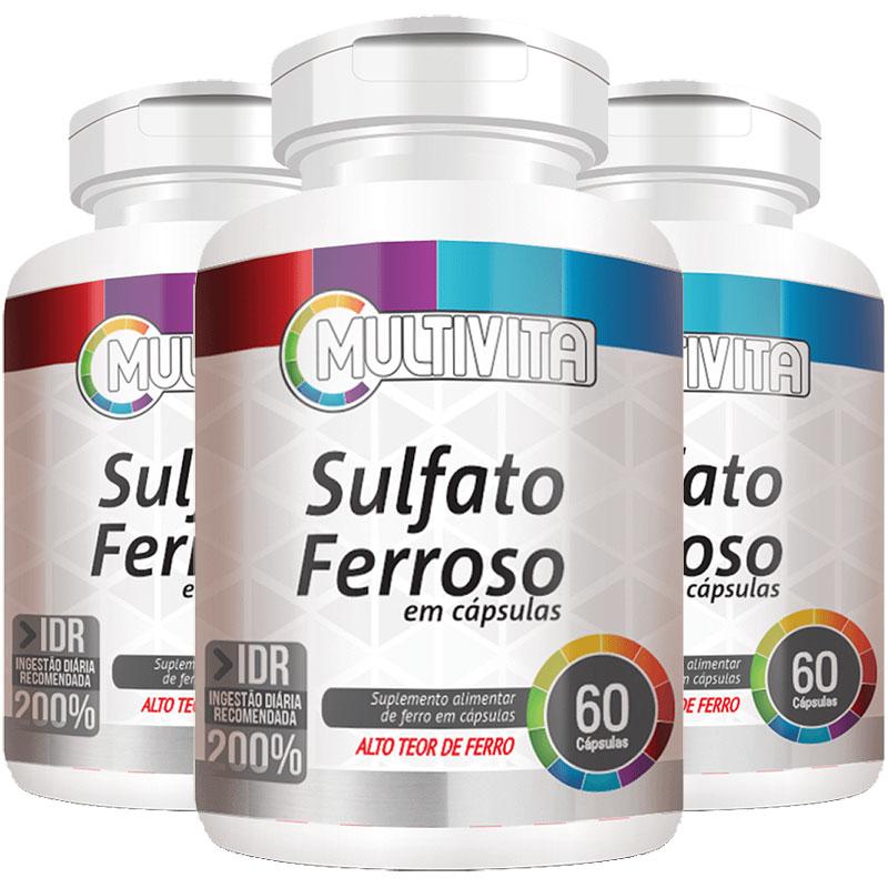 Sulfato Ferroso - 28mg de Ferro - IDR 200% - 3 Potes (180 cáps.)