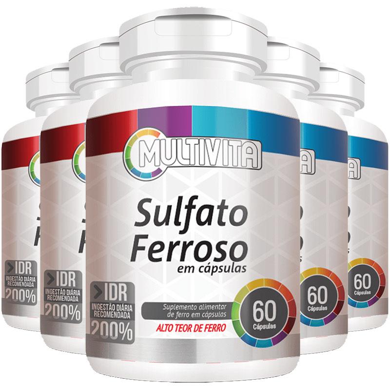 Sulfato Ferroso - 28mg de Ferro - IDR 200% - 5 Potes (300 cáps.)