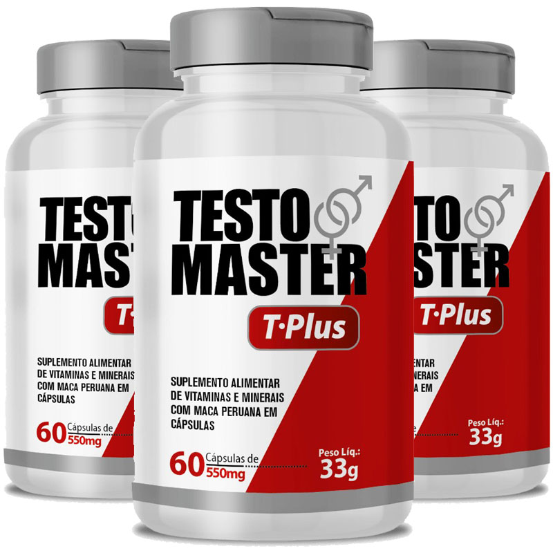 Testomaster T-Plus Maca Peruana (Lepidium Meyenii) + Zinco e Vitaminas - 3 Potes (180 cáps.)