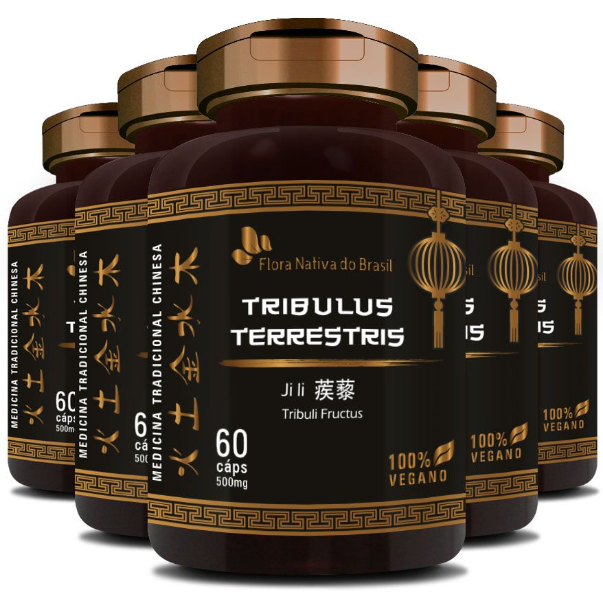 Tribullus Terrestris (Ji Li - Tribuli Fuctrus) - 500mg - 5 Potes (300 cáps.)