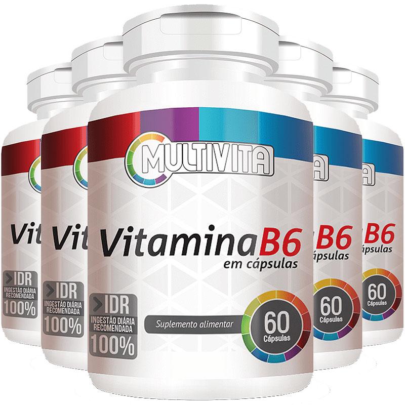 Vitamina B6 (Piridoxina) 1,3mg - IDR 100% - 5 Potes (300 cáps.)