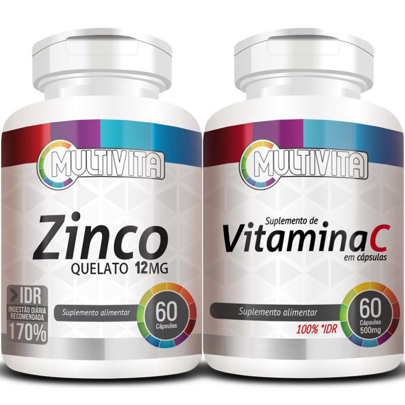 Kit Imunidade - Zinco Quelato - 60 cáps. 12mg + Vitamina C (Ácido Ascórbico) - 60 cáps. 500mg